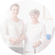 standing caregiver and patient