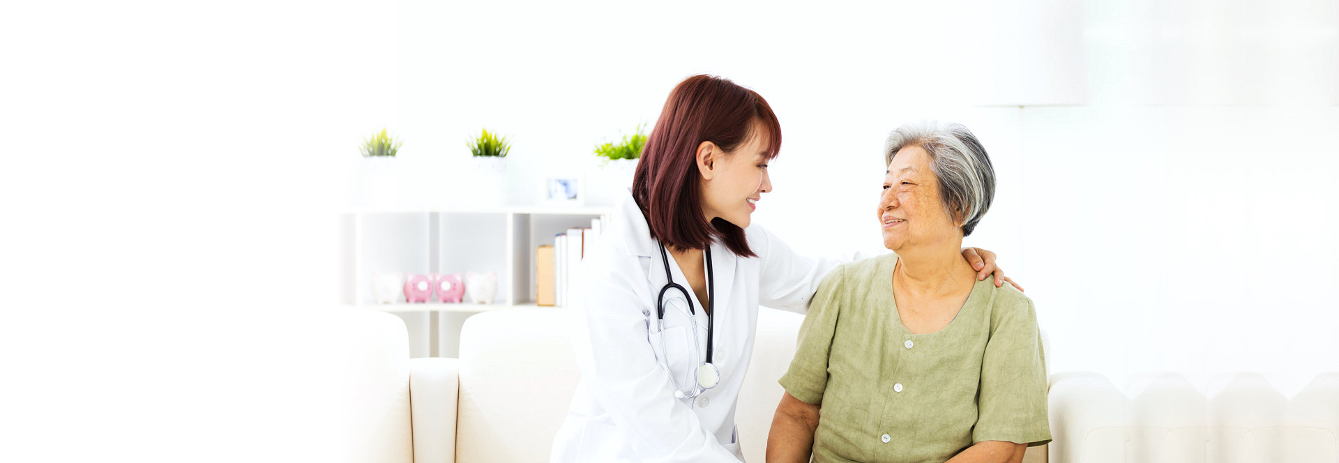 nurse and patient looking at each other